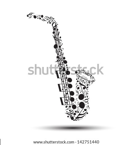 Decoration of musical notes in the shape of a saxophone - stock vector