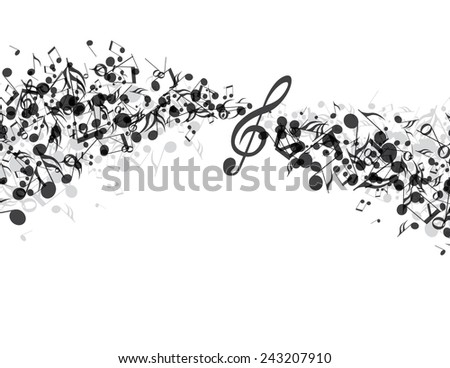 Decoration of musical notes in the shape of a wave - stock vector