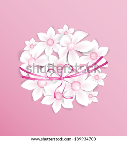 Decoration of white flowers on pink background