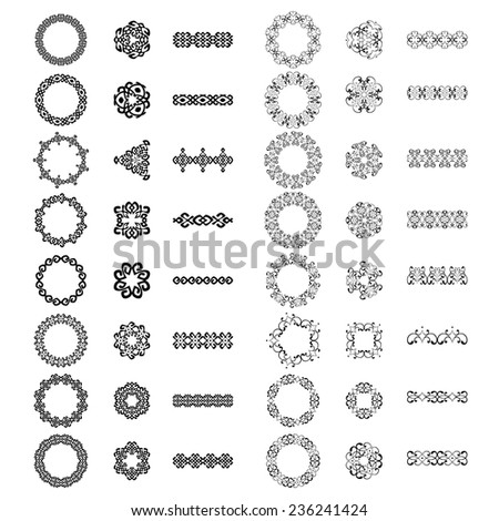 Decoration patterns in big pack. Mega set of 48 the most popular elements. Monochromatic vintage signs, round borders and dividers. Isolated on white. Vector illustration  - stock vector