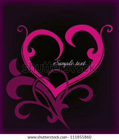 Decoration pink heart. Vector - stock vector