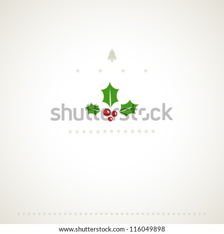 Decoration winter holiday background with mistletoe. Vector illustration. - stock vector