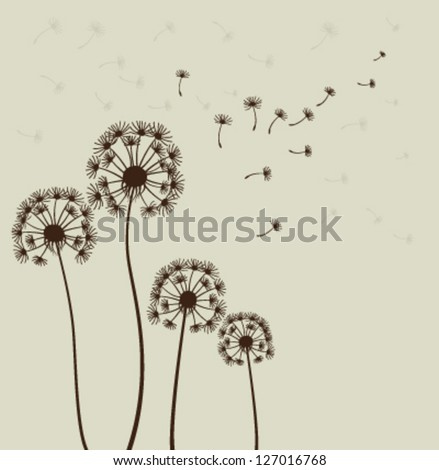 Decoration with dandelions. Vector - stock vector