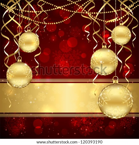 Decoration with golden Christmas balls on red background, illustration. - stock vector