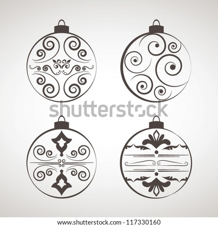 Decorations For Christmas, Christmas decoration set - lots of calligraphic elements - stock vector