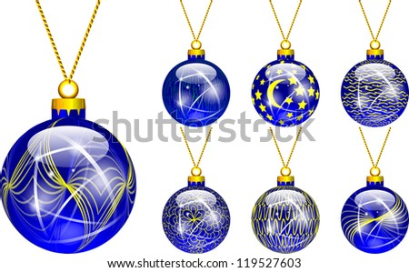decorations for Christmas tree blue
