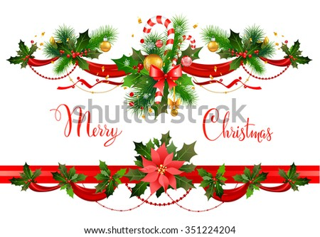 Decorations with spruce tree and poinsettia. Christmas decorations for design card, banner,ticket, leaflet and so on. - stock vector