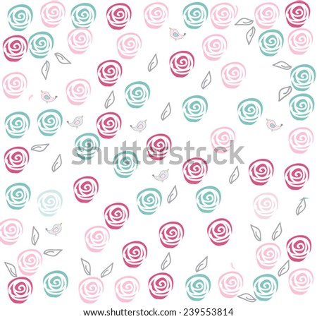 decorative abstract background with flowers roses in pastel colours postcard - stock vector