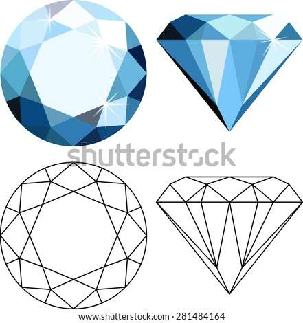 Decorative abstract blue diamonds isolated on white. Flat style icon - stock vector