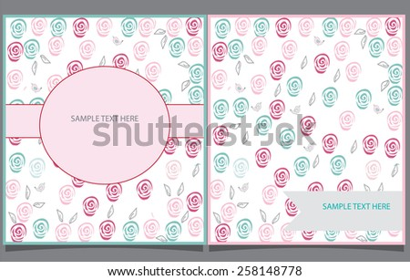 decorative abstract flower background with two greeting cards with roses - stock vector