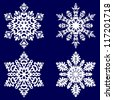 Decorative abstract snowflake. Vector illustration. - stock photo