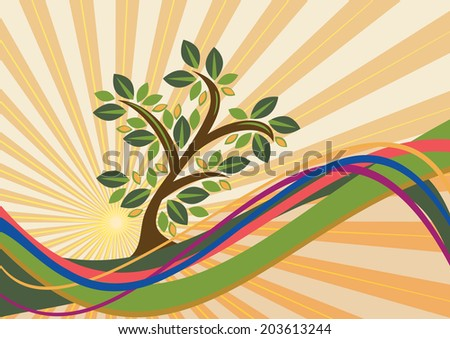 Decorative abstract tree - stock vector