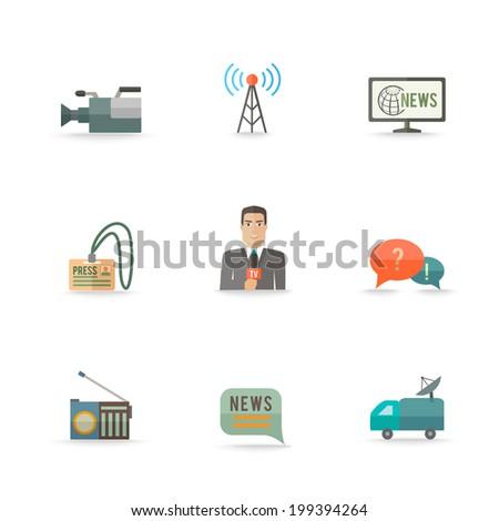 Decorative actual news live journalism operator strategic equipment camera logo card design icons set flat isolated illustration - stock vector