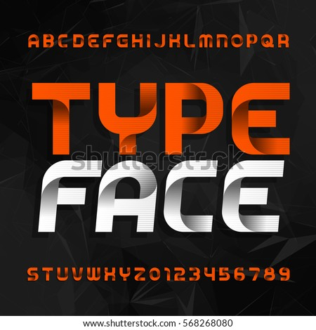 Decorative alphabet typeface. Type letters and numbers on a dark polygonal background. Vector font for your design.