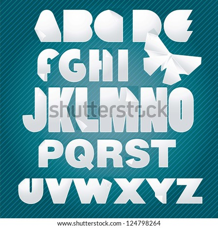Decorative Alphabet With Origami Butterfly. vector illustration - stock vector