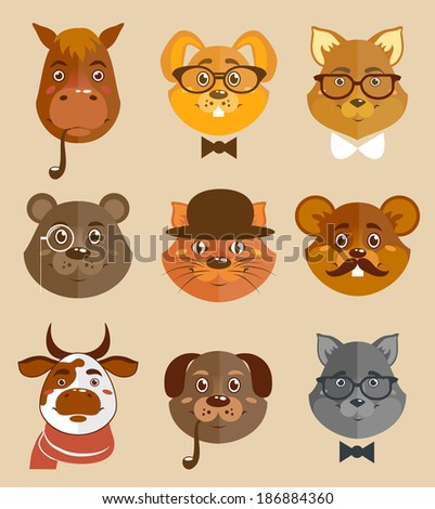 Decorative animal hipsters icons set cat horse dog and bear in hats and bow ties vector illustration. - stock vector