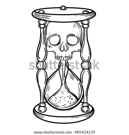 Decorative Antique Death Hourglass Illustration With Skull Hand Drawn Tarot Card Sketch For Dotwork