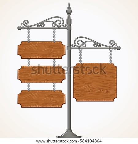 Decorative Antique Wooden Signboard. Isolated Vector Image of Vintage Forged Metal Advertising Signpost