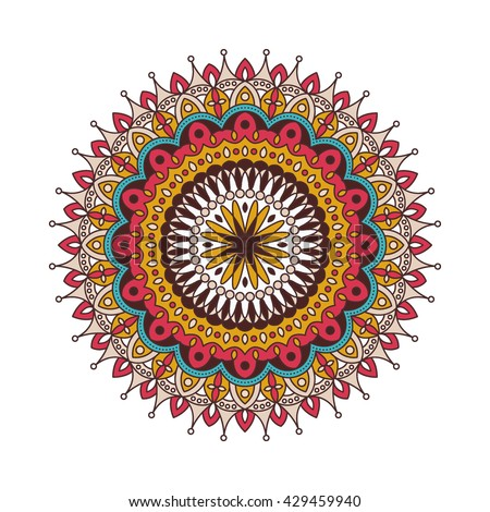 Decorative arabic round lace ornate mandala. Vintage vector pattern for print or web design. Mandala abstract colorful background. Invitation, wedding card, national design. - stock vector