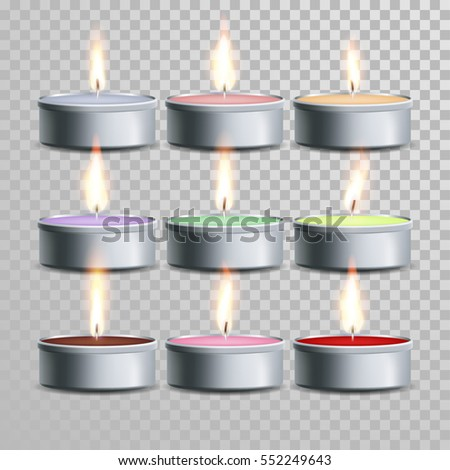 decorative aromatic tealight candles vector set vector 3d realistic isolated tea candle sticks with burning