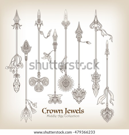 Decorative arrows in victorian, renaissance, baroque, royal style. Vector illustration.