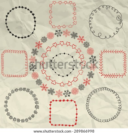 Decorative Artistic Colorful Hand Sketched Doodle Frames, Borders on Crumpled Paper Texture. Design Elements. Pen Drawing. Vector Illustration - stock vector