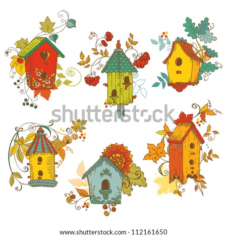 Decorative Autumn branches with Birdhouses - for scrapbook and design in vector - stock vector