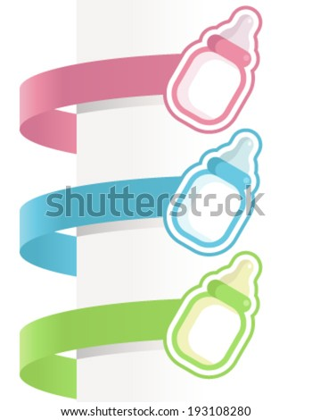 Decorative Baby Shower Labels With Baby Bottles