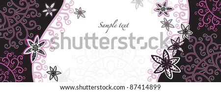 decorative background card with flowers - stock vector