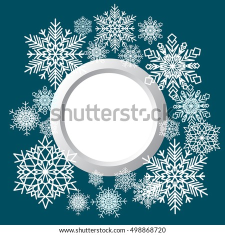 Decorative background composed of winter snowflakes. Decorative abstract snowflake. Paper snowflaker. Winter snowflaker. Christmas snowflaker. Vector illustration.
