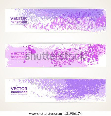 Decorative background vector banner with abstract purple texture paint - stock vector