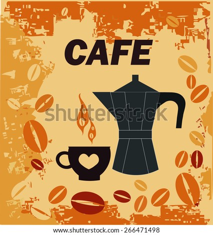 decorative background with coffee pot and cup. - stock vector