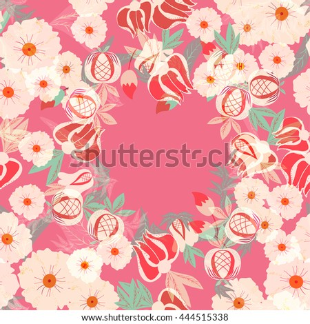 Decorative background with flower and leaves. Floral gift card with place for text. floral seamless pattern. Floral background. vector illustration,  - stock vector