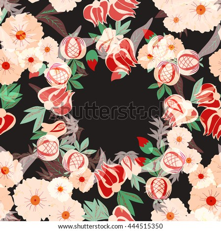 Decorative background with flower and leaves. Floral gift card with place for text. floral seamless pattern. Floral background. vector illustration,