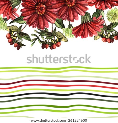 Decorative background with red flowers and strips. Hand painting. Illustration for greeting cards, invitations, and other printing projects. - stock vector