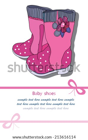 decorative background with shoes pink for girls with flower text - stock vector
