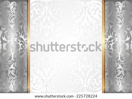 decorative background with silver ornaments - stock vector