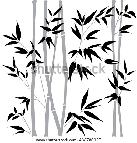 Decorative bamboo branches. Bamboo forest background. Vector Black & White seamless patterns. Interior Design wallpaper.