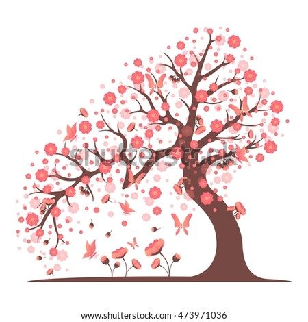 decorative beautiful cherry blossom tree vector stock vector