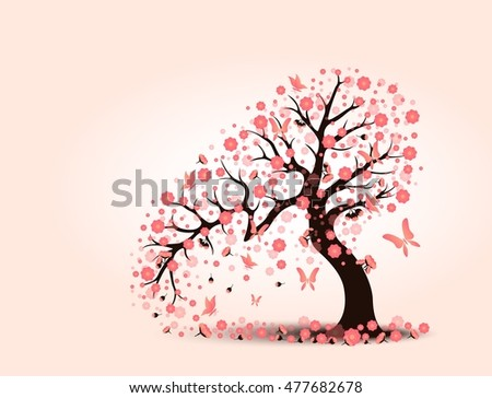 Decorative beautiful cherry blossom with background tree vector illustration