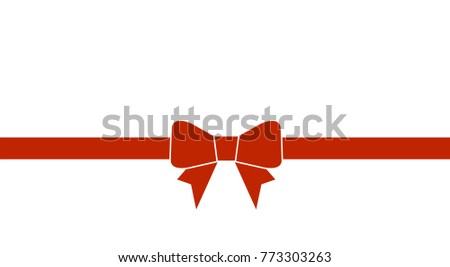 Decorative beautiful red bow with horizontal ribbon isolated on white. Vector bow.