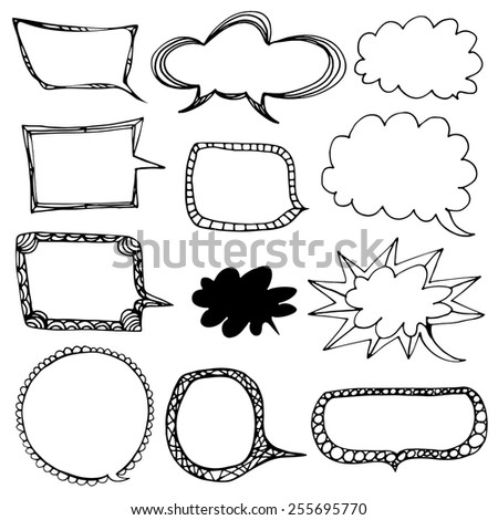Decorative black and white chalk speaking bubbles - stock vector