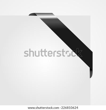Decorative black corner ribbon on blank paper card vector - stock vector