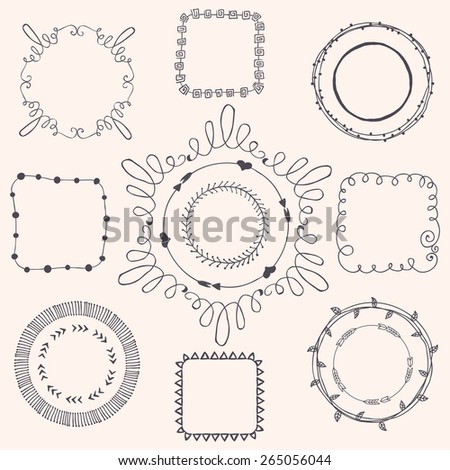 Decorative Black Hand Sketched Doodle Frames, Borders. Design Elements. Vector Illustration - stock vector
