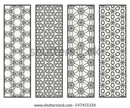Decorative black lace borders patterns. Tribal ethnic arabic, indian, turkish ornament, bookmarks templates set. Isolated design elements. Stylized geometric floral border, fashion collection