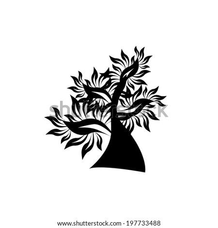 Decorative black tree. Vector - stock vector