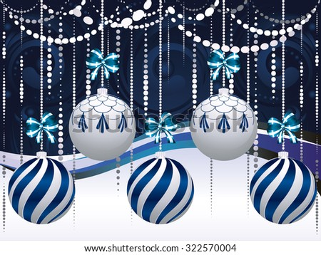 Decorative blue and white Christmas balls, holiday ornaments. - stock vector
