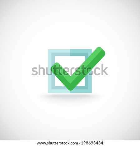 Decorative blue square contour checkbox green color tick approval confirmation chek mark internet symbol pictogram vector illustration - stock vector