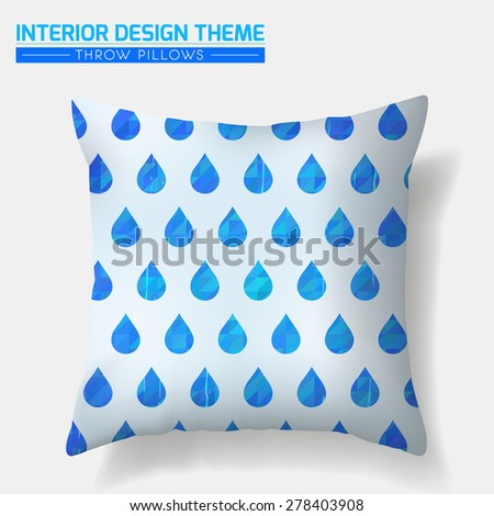 Decorative Blue Water Drop pattern throw pillow design template. Original seamless pattern is complete, masked. Modern interior design element. Creative Sofa Toss Pillow. Vector is layered, editable. - stock vector