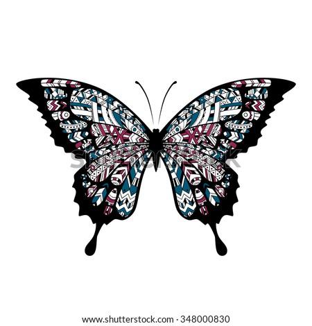 Decorative Boho Butterfly Tattoo Indian Cherokee Stock Vector